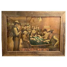 "A Rare Cyrus Noble Whiskey ""BUCKING TIGER"" Cardboard Litho Advertising Sign."