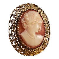 Sterling Shell Cameo Pin / Pendant