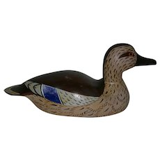 Carved Wood Duck Decoy 1959 Signed