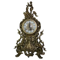 German Ormolu 19th Century Brass Clock