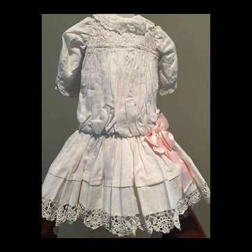 "Dress made with vintage eyelet fabric that fits approx 23-24"" doll"