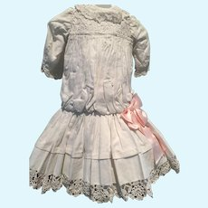 """Dress made with vintage eyelet fabric that fits approx 23-24"""" doll"""