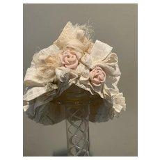 Cream check silk hat