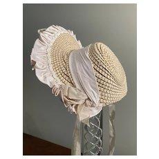 Straw decorated hat