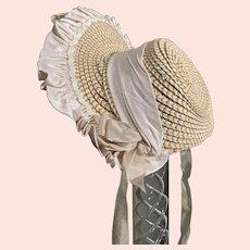 Straw decorated hat