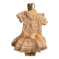White cotton dress with slip - peach/pink silk  bows