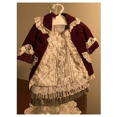 Gray silk taffeta and burgundy velvet - 2 piece outfit
