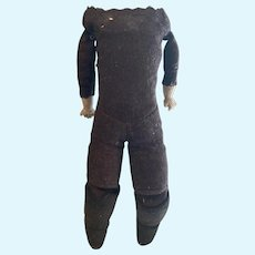 Doll body:  brown felt - stone bisque hands