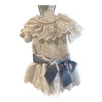 Eyelet dress made with vintage fabrics