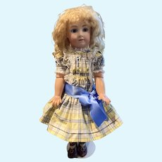 Silk taffeta plaid dress/ with silk satin blue bow