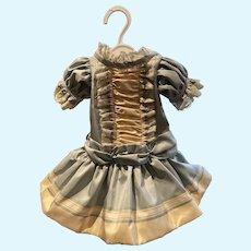 Aqua/cream silk taffeta dress