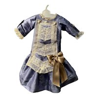Periwinkle colored  Silk dress - with vintage laces
