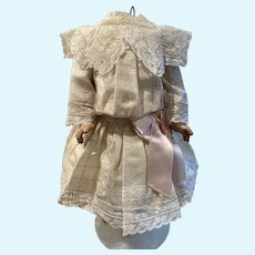 Ivory raw silk dress - with lots of lace