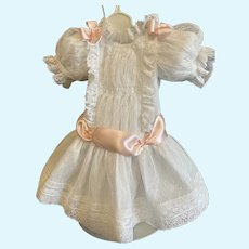 White netting dress - accented with pink silk satin ribbon
