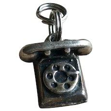 Sterling Silver Telephone Vintage Phone Charm Bracelet 925 Jewelry