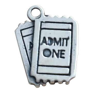 Sterling Silver Concert Movie Ticket Admit One Charm 925 Jewelry