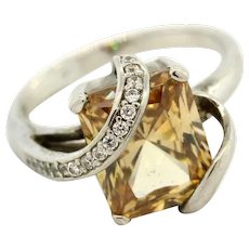 Sterling Silver Gemstone Cubic Zirconia Ring .925 Size 6.75 Light Brown