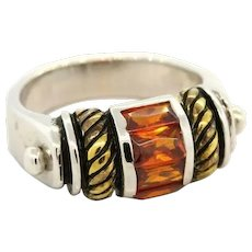 Sterling Silver Fashion Ring Glass Stones .925 Ladies Size 5.75 Enamel Accents