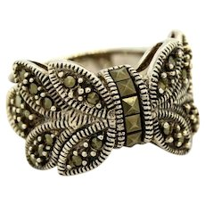 Sterling Silver Butterfly Ring Marcasite Gemstone Ladies Size 10
