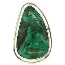 Sterling Silver Malachite Gemstone Brooch Pendant .925 Ladies