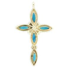 Vintage Sterling Silver Turquoise Cross Pendant .925 Gemstone