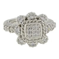 Judith Ripka Diamonique Cluster Halo Floral Ring Sterling Silver 925 Size 7.25