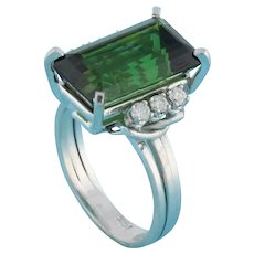 Estate Green Tourmaline Diamond Statement Ring 14K White Gold 8.90 CTW Size 6.75