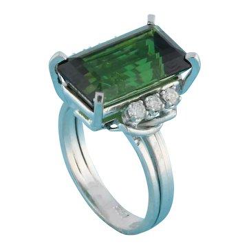 Estate Green Tourmaline Diamond Statement Ring 14K White Gold 8.90 CTW Size 6.75