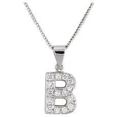 "Estate Diamond Letter ""B"" Pendant Charm 14K White Gold 0.60 CTW Rou Dia 0.75"""