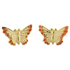 Vintage Butterfly Stud Earrings 14K Yellow Gold Enamel Ladies Girls