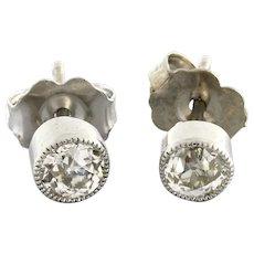 Vintage Diamond Beaded Stud Earrings Platinum 0.30 CTW Old European Cut Diamonds