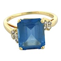 Vintage Blue Topaz Diamond Cocktail Ring 14K Yellow Gold 8.16 CTW 12 x 10 MM