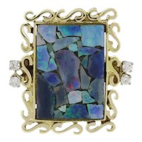 14K Yellow Gold Estate Opal Mosaic Statement Ring 0.12 CTW Diamond Accents SZ 5