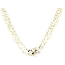 """Estate 2-Strand Pearl Diamond Accented Necklace 14K White Gold Clasp Ladies 19"""""""