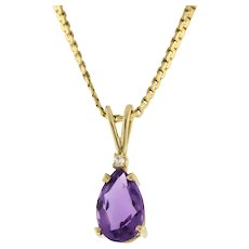 Vintage Amethyst Gemstone Diamond Pendant Charm 14K Yellow Gold Pear Shape 0.5""