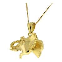 "Estate Elephant Pendant Charm 18K Yellow Gold 1.25"" Unisex"