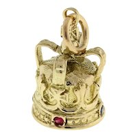 "Vintage Crown Quartz Gemstone Charm Pendant 10K Yellow Gold 1"" Unisex"