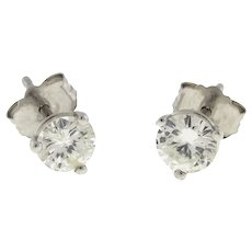 Round Diamond Stud Earrings 14K White Gold 0.55 CTW Martini Setting NEW W/O TAGS