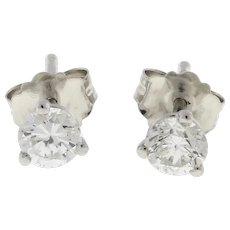 Round Diamond Stud Earrings 14K White Gold 0.40 TW GH SI Martini Set NEW NO TAGS