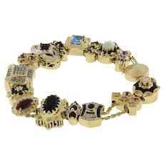 "Richard Klein KLJCI 14K Yellow Gold Slide Charm Bracelet Multi-Gemstones 7"""