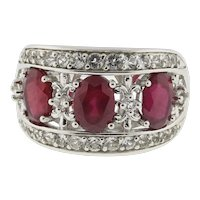 Vintage Ruby Cubic Zirconia 3-Stone Wide Band Ring Sterling Silver Ladies SZ 6