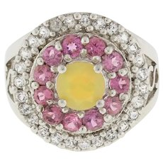 Vintage Sterling Silver Pink Yellow CZ Accented Gemstone Flower Ring Ladies SZ 5