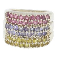 Vintage Multi Color Gemstone 6-Row Wide Band Ring Sterling Silver Ladies Size 6