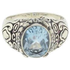 Vintage Blue Topaz Sterling Silver Filigree Ring Oval Gemstone Ladies Size 10.5