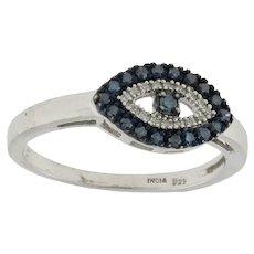 Vintage Blue & White Diamond Evil Eye Statement Ring Sterling Silver 925 Size 8