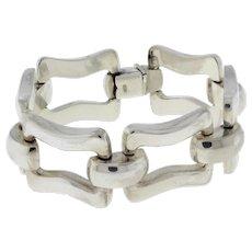 "Estate Sterling Silver Fancy Square Link Bracelet Wide Unisex Size 7.5"""