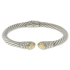 """Designer Twisted Cable Bangle with 18K Gold Caps 925/18K Size 7.25"""""""