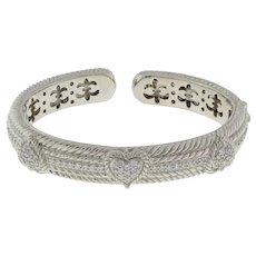 "Judith Ripka Diamonique Cuff Heart Bangle Bracelet Sterling Silver 7"" Designer"
