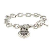"""Vintage Sterling Silver Cluster Heart Toggle Bracelet CZ Gems Ladies Size 6.75"""""""