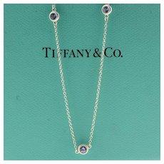 "Tiffany & Co Elsa Peretti Color-By-The-Yard Tanzanite Necklace SS .925 18"""